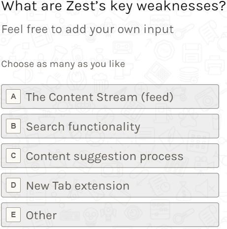 one of the survey questions which asks - what are Zest's key weaknesses?