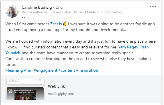 Caroline Budwig's LinkedIn post describing her experience using Zest Enlight.