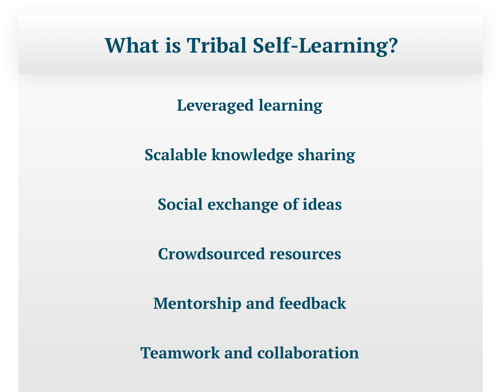 "Text-only image titled ""What is Tribal Self-Learning"" with the following text: Leveraged learning; Scalable knowledge sharing; Social exchange of ideas; Crowdsourced resources; Mentorship and feedback; Teamwork and collaboration."