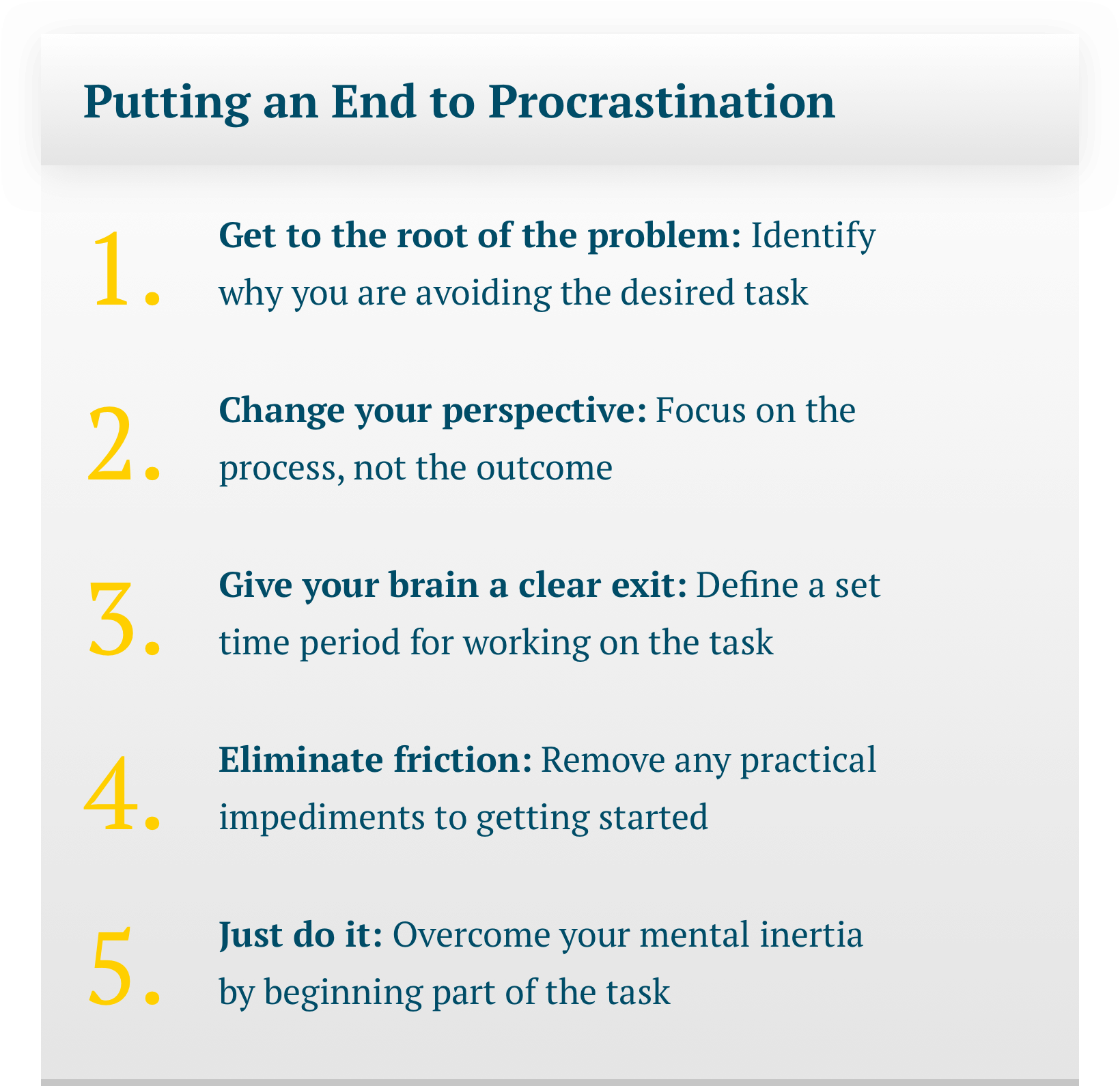 A 5-point text guide to putting an end to procrastination. Title: Putting an End to Procrastination; Step 1: Get to the root of the problem: Identify why you are avoiding the desired task; Step 2: Change your perspective: Focus on the process, not the outcome; Step 3: Give your brain a clear exit: Define a set time period for working on the task; Step 4: Eliminate friction: Remove any practical impediments to getting started; Step 5: Just do it: Overcome your mental inertia by beginning part of the task