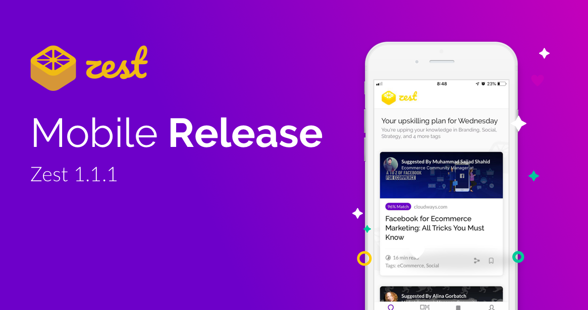 mobile release 1.1.1 with new product updates for Zest app