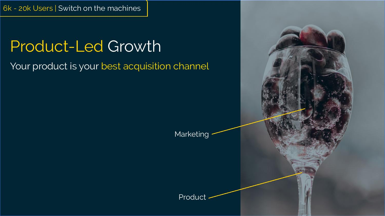 "Product-Led Growth [Image of a wine glass filled with liquid and grapes. The supporting stem of the glass represents product and the container portion represents marketing= Marketing funnels to product] ""Your product is your best acquisition channel"""
