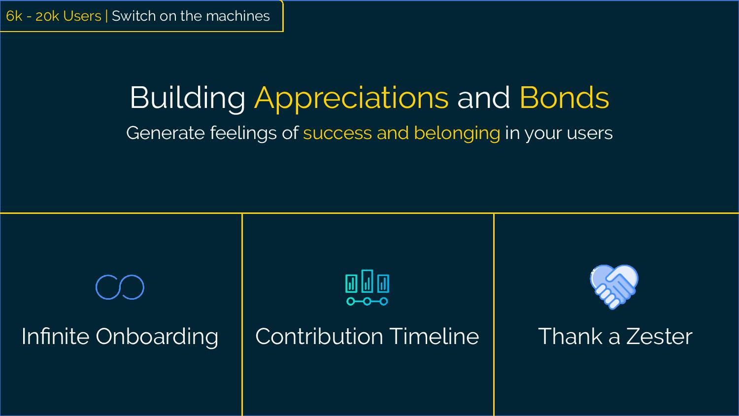 Building Appreciations and Bonds Generate feelings of success and belonging in your users Examples:  Infinite onboarding Contribution Timelines Thank a Zester