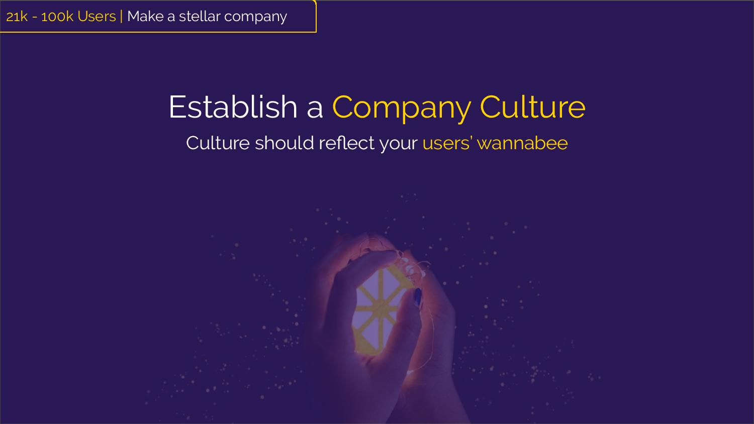 """Establish a Company Culture: Culture should reflect your users' wannabee""  [Image: hands embracing the Zest lemon slice logo]"