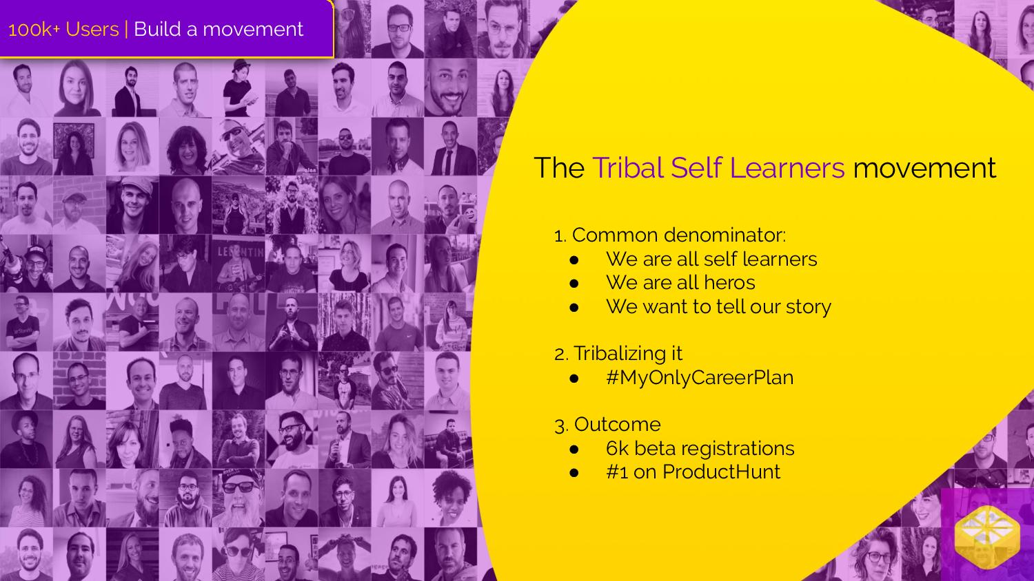 "Collage of images of people who contributed to tribal self-learning article.  ""The Tribal Self-Learners Movement"" 1. Common denominator: We are all self-learners We are all heroes We want to tell our story  2. Tribalizing it #MyOnlyCareerPlan  3. Outcome 6k beta registrations #1 on Product Hunt"