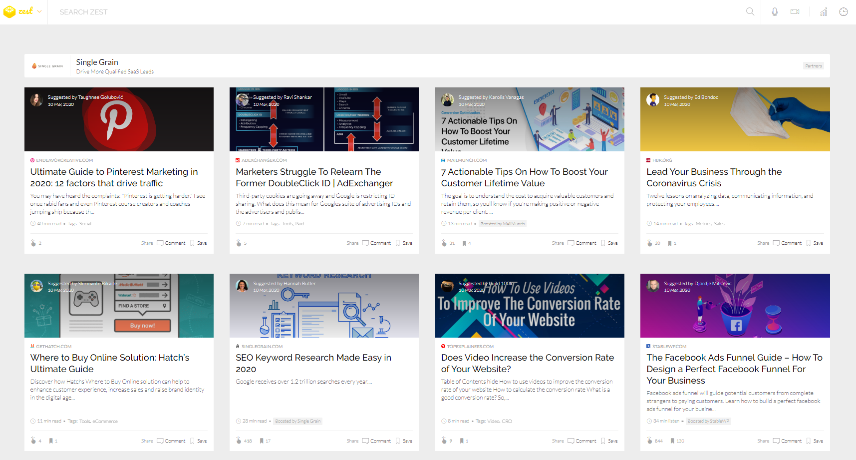 Screen shot of distilled.zest.is content stream featuring two rows of content cards for trending marketing topics