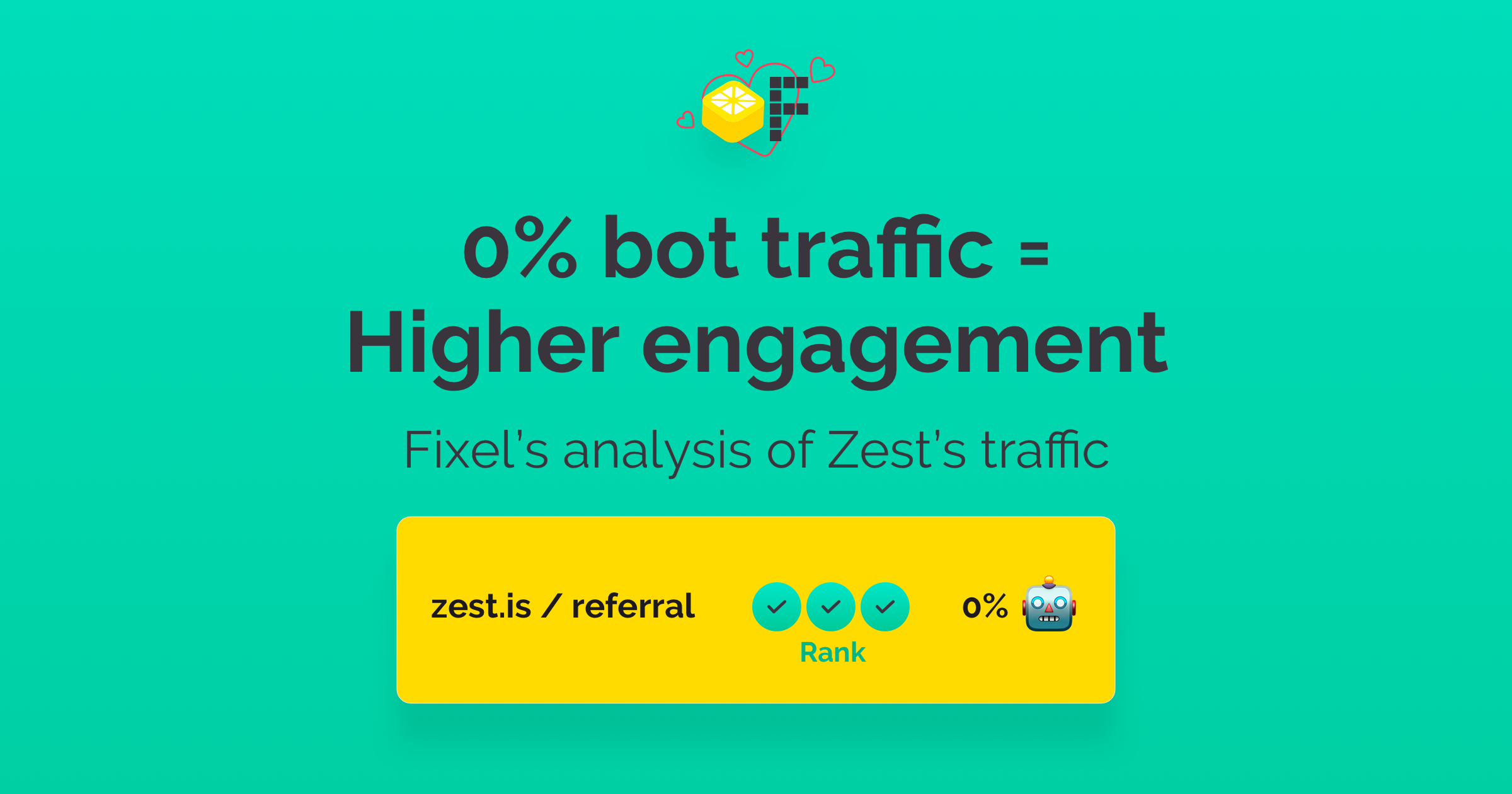 Hero image titled: 0% bot traffic = Higher engagement Fixel's analysis of Zest's traffic