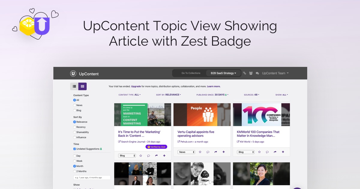 Image title: UpContent Topic View Showing Article with Zest Badge. This image depicts the UpContent content curation dashboard and features content that has the Zest approved label.