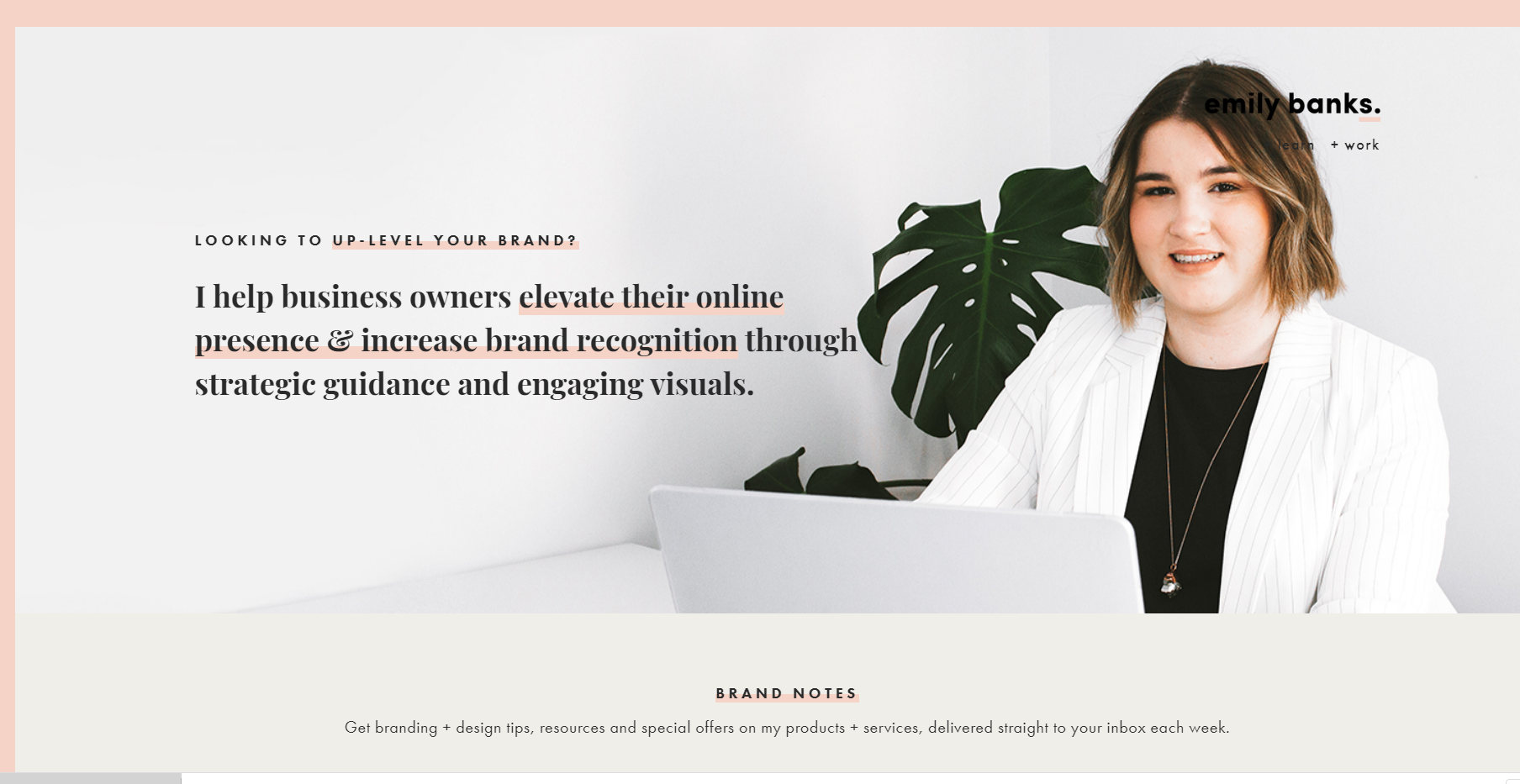 Screen shot from landing page featuring text: Looking to up-level your brand? I help business owners elevate their online presence & increase brand recognition through strategic guidance and engaging visuals. With image of Emily Banks.