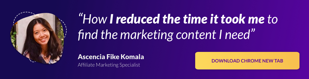 Banner ad: How I reduced the time it took me to find the marketing content I need [Download Chrome New Tab]