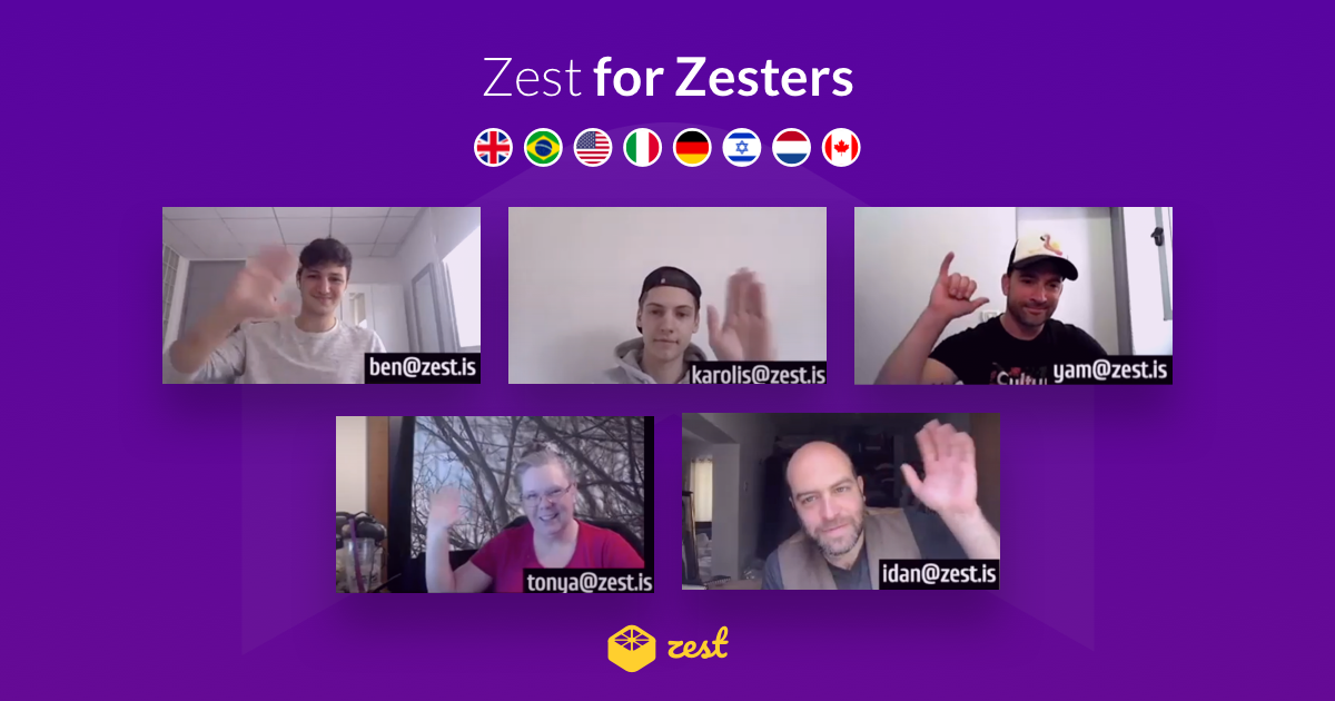 Purple banner of the Zestteam on Zoom with flags from countries like USA, Italy, Germany.