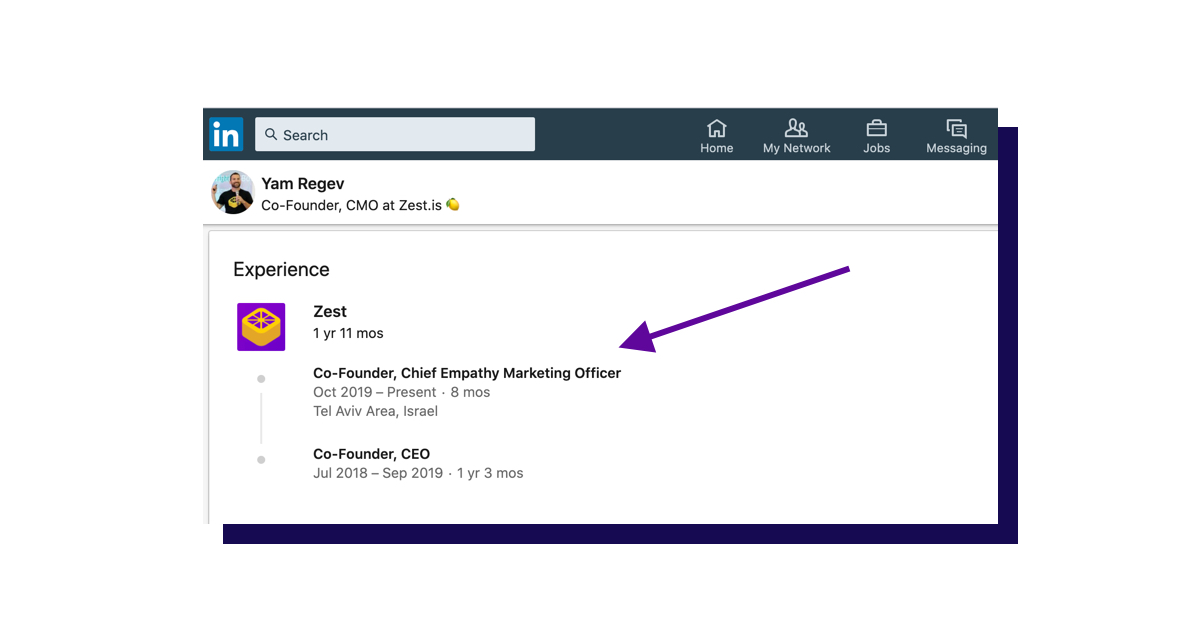 "Screenshot of Yam's LinkedIn title changed to ""Chief Empathy Marketing Officer"""