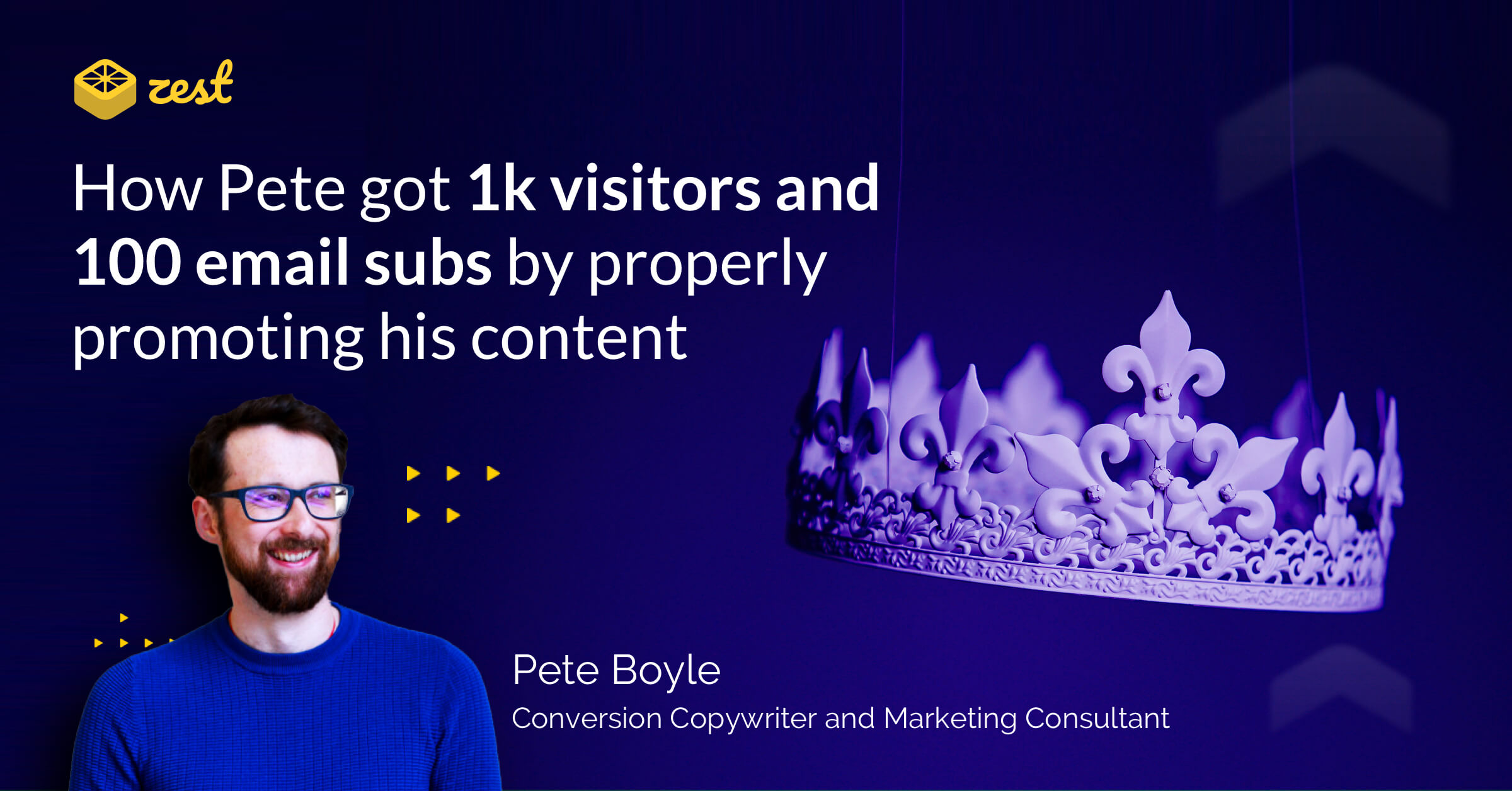 Banner image displaying the title of the article, a picture of Pete Boyle, and a crown