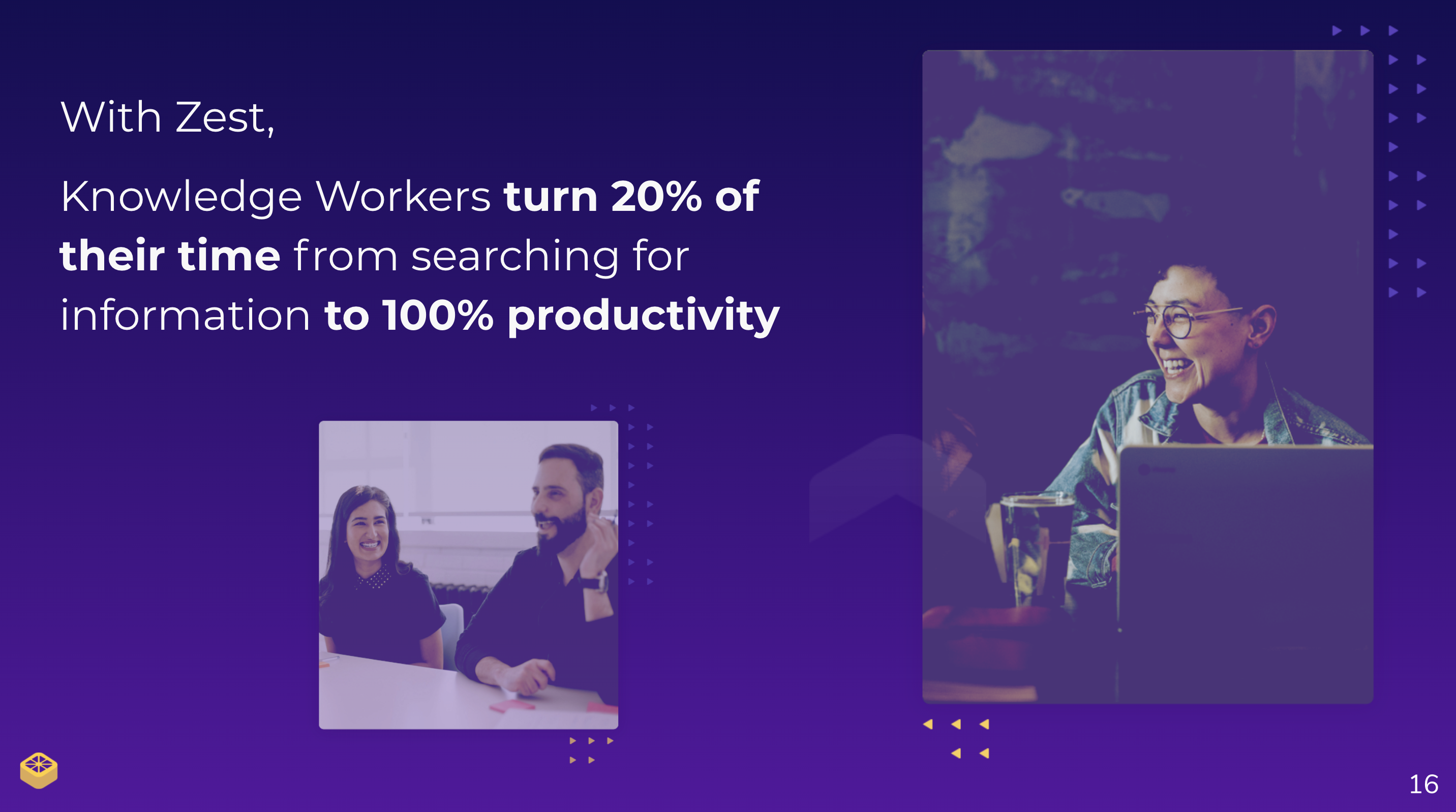 "Slide with images of happy employees and the line ""With Zest, knowledge workers turn twenty percent of their time from searching for information to one hundred percent productivity"""