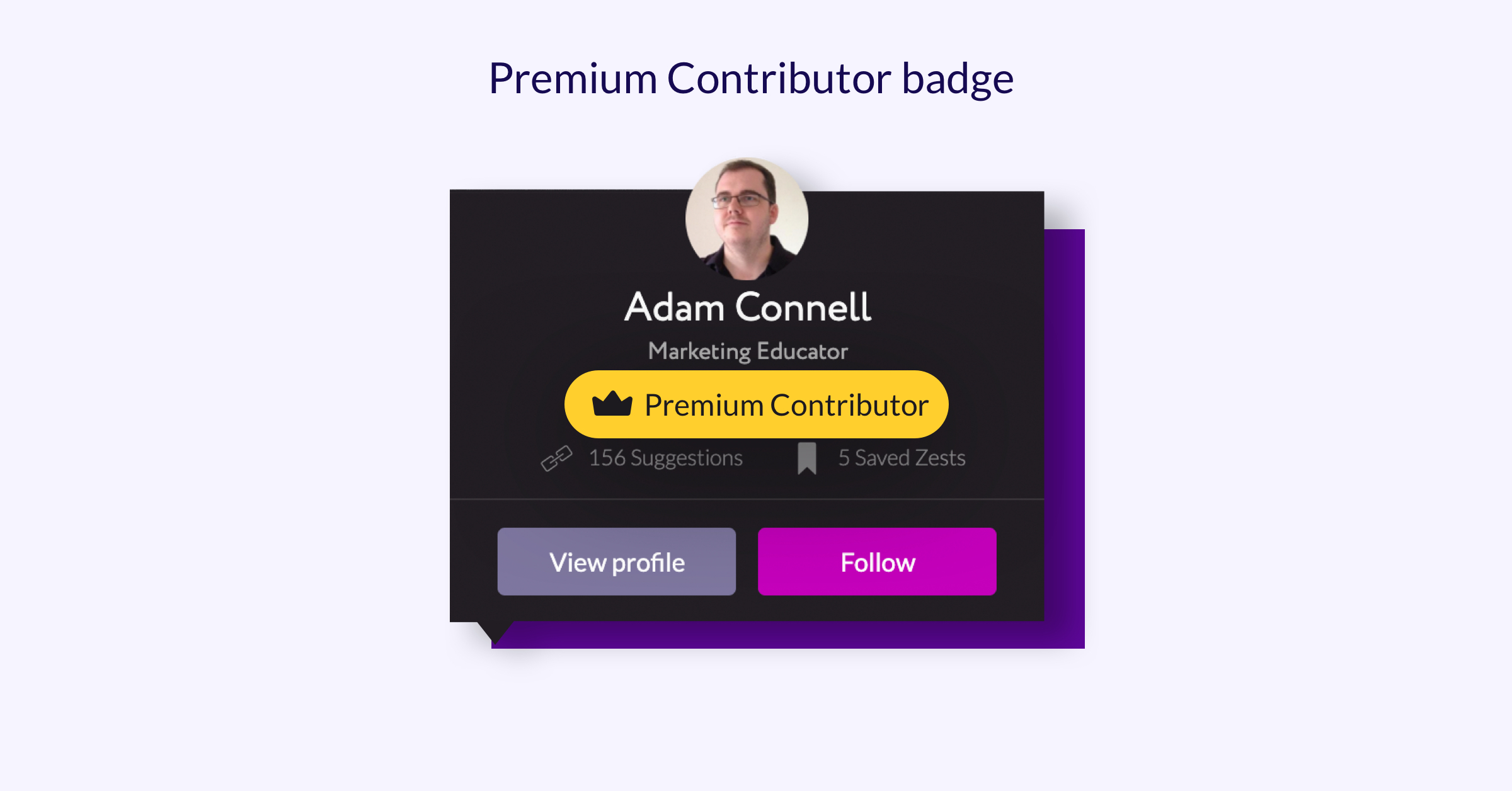 Example of a user that has the Zest Premium Contributor Badge on their account