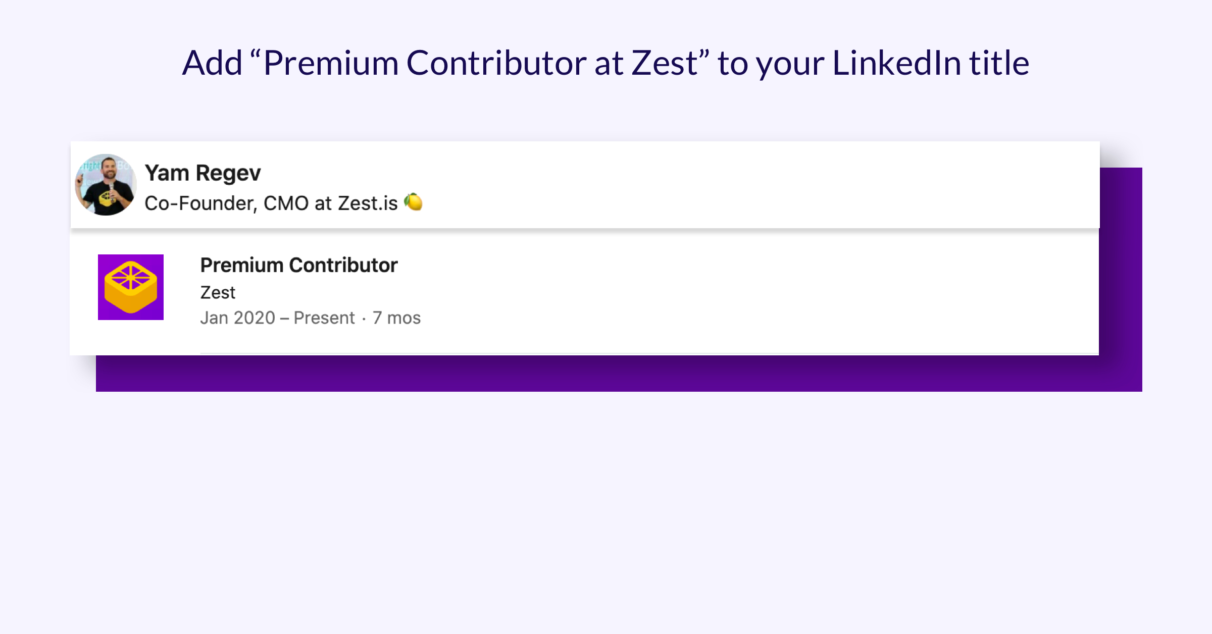 "Screenshot example of adding a LinkedIn title of ""Premium Contributor at Zest"""