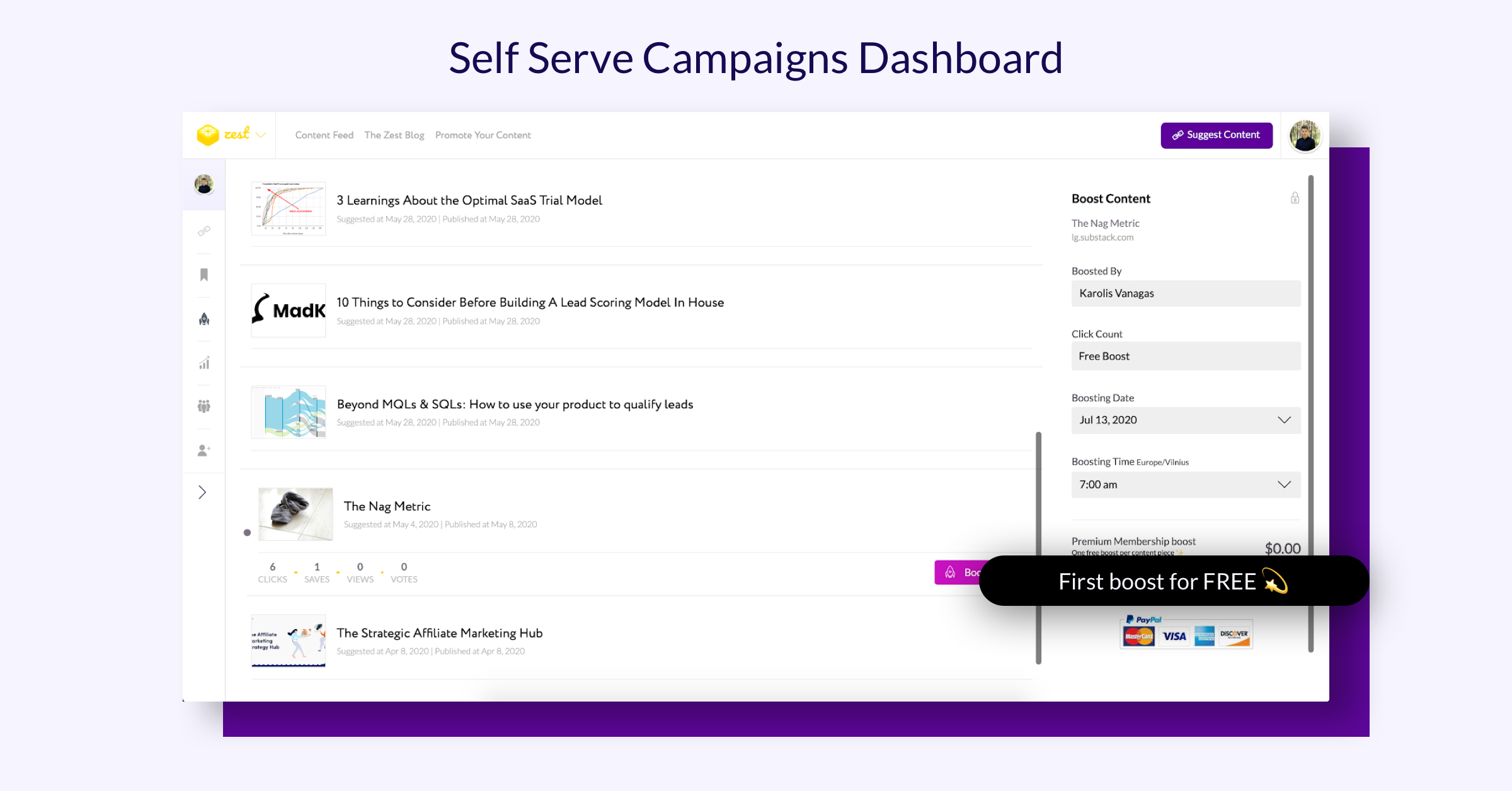 Screenshot of Zest's self-serve campaign dashboard