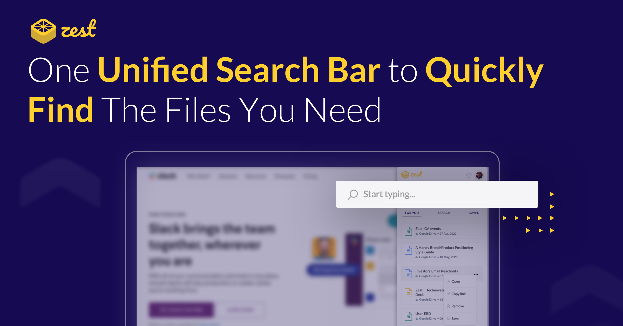 "Banner image displaying the title ""One unified search bar to quickly find the files you need"" with a search bar"
