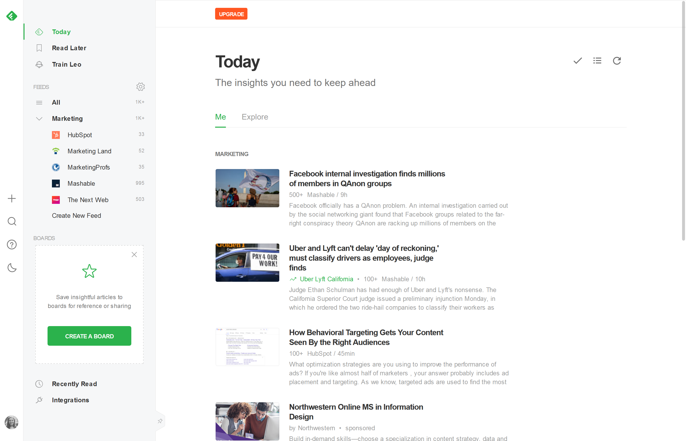 "Screenshot of Feedly, showing ""the insights you need to keep ahead"""