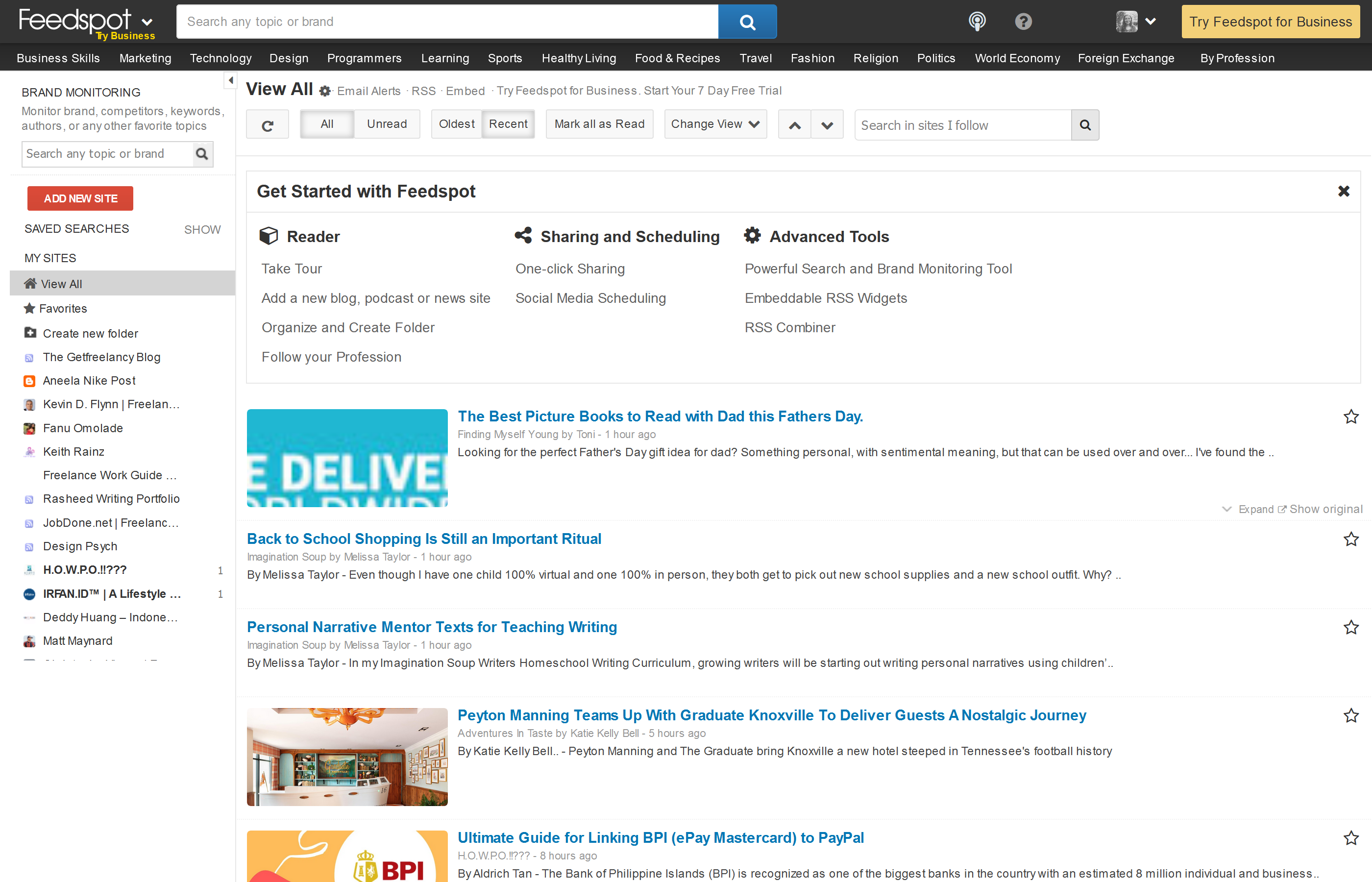 Screenshot of Feedspot, showing a feed of content