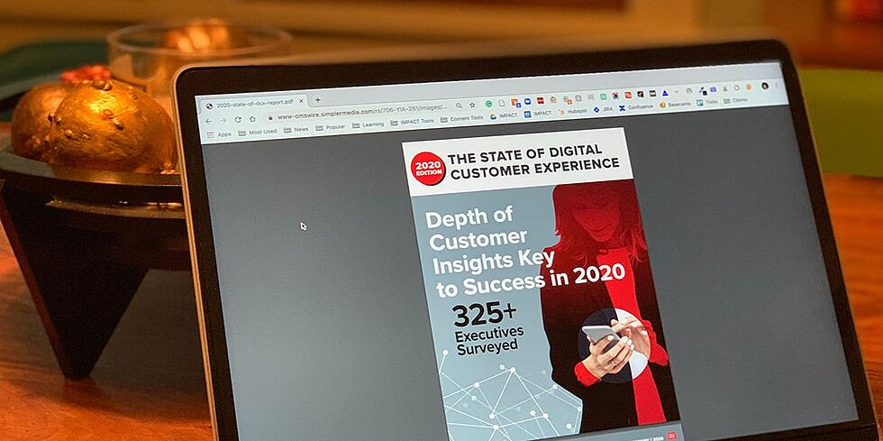 "Magazine-like cover image titled ""The State of Digital Customer Experience: Depth of Customer Insights Key to Success in 2020"" Sub-heading: ""325+ Executives Surveyed"""