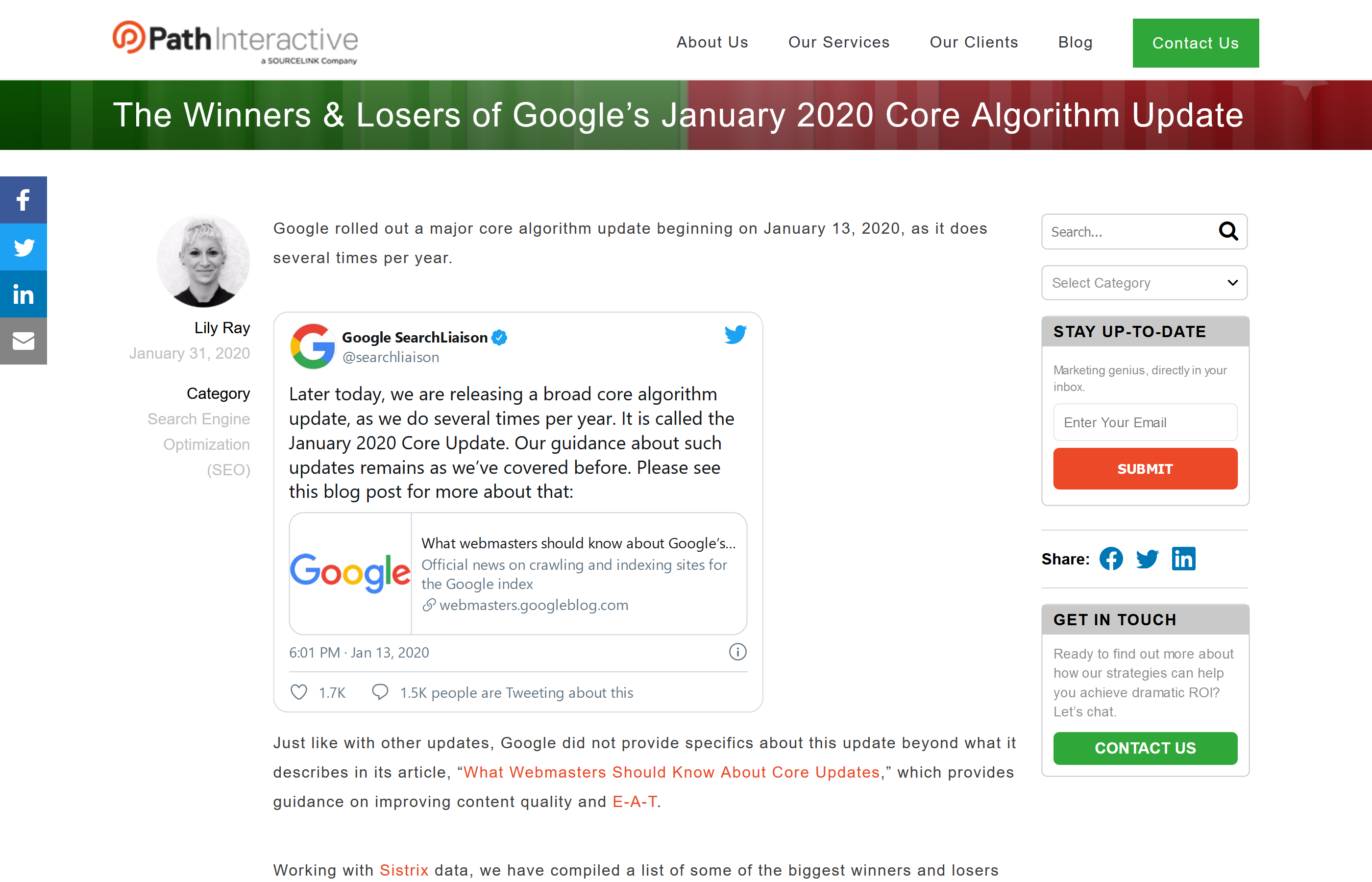 "Screenshot of PathInteractive's article ""The Winners and Losers of Google's January 2020 Core Algorithm Update"""