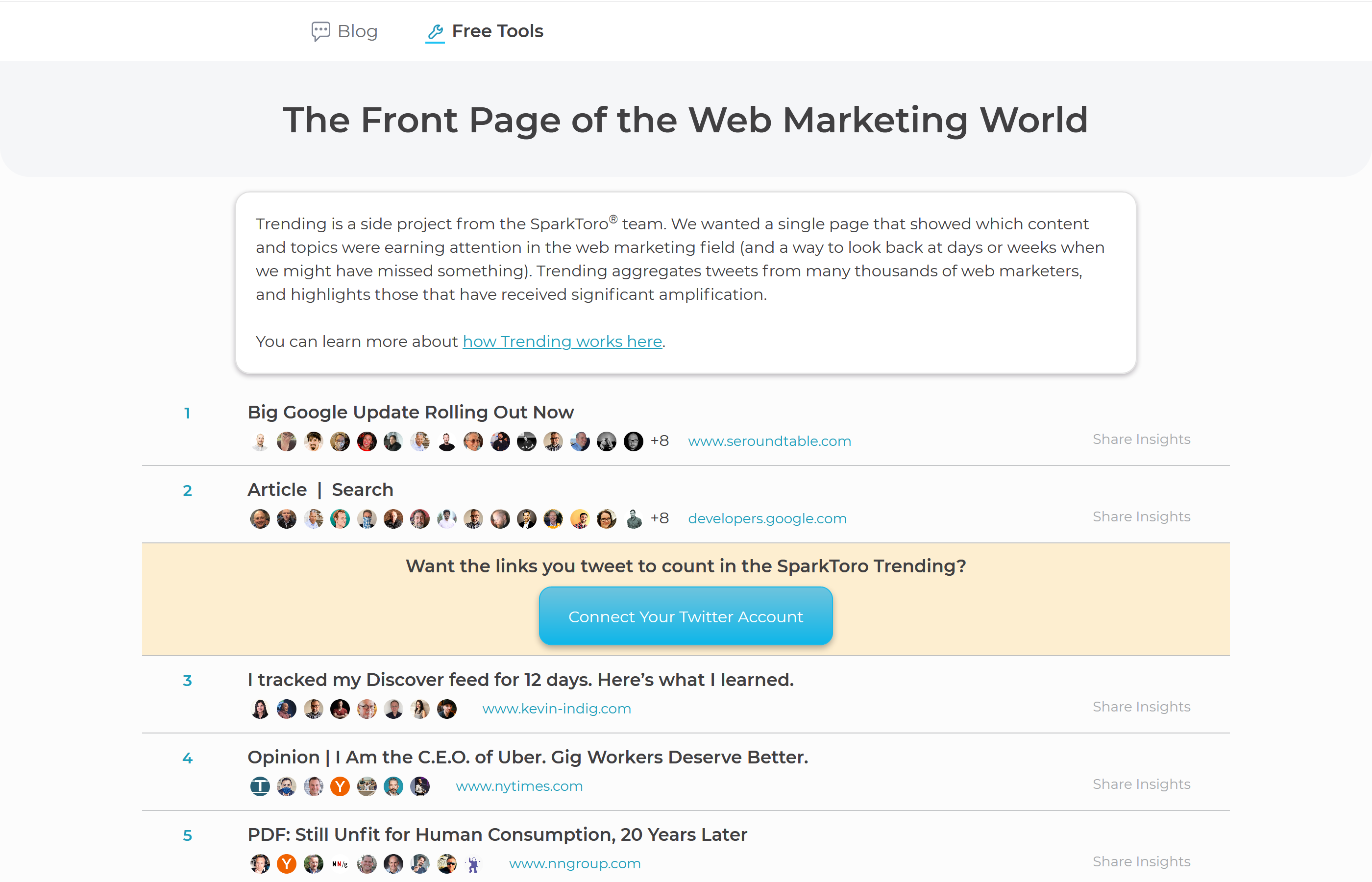 "Screenshot of Sparktoro showing ""The Front Page of the Web Marketing World"""